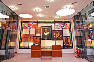 Stain glass donor wall in the William Harvey Heart Centre.